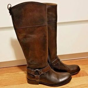 FRYE Melissa Brown Leather Harness Zip Riding Boot